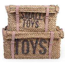 Child Home Set of 2 Rattan Basket Toy Storage