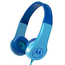 Motorola SQUADS200BL Squads 200 Kids Wired Headphones with Anti-Allergic Cushion Pads - Blue