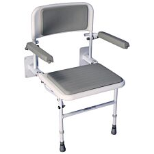 Aidapt Solo Deluxe Shower Seat With Padding Back and Seat - White & Grey