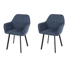 Aspen Blue Fabric Upholstered Armchairs With Black Metal Legs (Pair)
