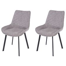 Aspen Grey Fabric Upholstered Dining Chairs With Black Metal Legs (Pair)