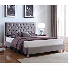 Izabel Velvet Double Bed Light Grey with Dark Grey Headboard