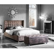 Valencia King Size Bed Brown Antique Faux Leather