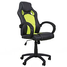 Equinox Bolt PU Leather Gaming Chair - Black/Green