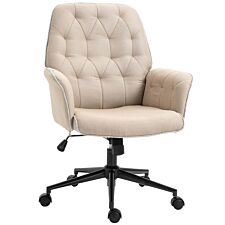 Solstice Cassini Bronzed Linen Mid Back Office Chair - Beige