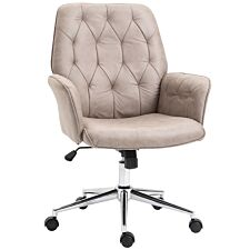 Solstice Cassini Linen Mid Back Office Chair - Light Grey