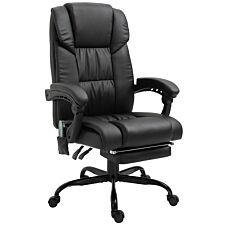 Zennor Vinca PU Leather Massage Office Chair with Footrest - Black