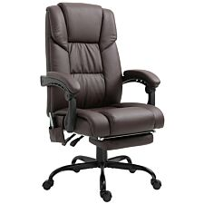 Zennor Vinca PU Leather Massage Office Chair with Footrest - Brown