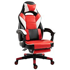 Equinox Trial PU Leather Gaming Chair with Footrest & Cushion - Red/White/Black