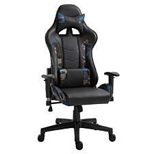 Equinox Camo PU Leather Gaming Chair with Vibrating Lumbar Cushion - Black/Blue