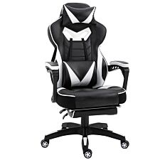 Equinox Strike PU Leather Gaming Chair with Footrest & Cushions - White/Black