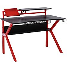 Equinox Charge Gaming Desk - Black Tabletop/Red Frame