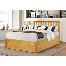 Zoe Storage Double Bed Solid Rubberwood - Oak