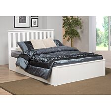 Zoe Storage King Size Bed Solid Rubberwood - White