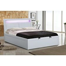 Tanya Storage High Gloss Double Bed With LED Light White