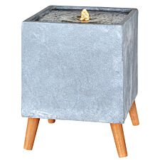 The Outdoor Living Company Square Contemporary Water Feature with Legs and LEDs - Grey