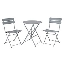 The Outdoor Living Company Nimes 2 Seater Folding Bistro Set - Grey