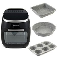 Salter COMBO-7111 2000W 11L Aerocook Pro XL Mini Cooker with Grey Marble Collection Bakeware - Black/Silver
