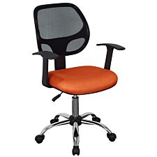 Loft Home Office Home Office Fabric Chair with Mesh Back & Chrome Base - Orange/Black
