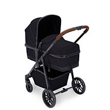 Ickle Bubba Moon 2 in 1 Pushchair - Black on Black with Tan Handles