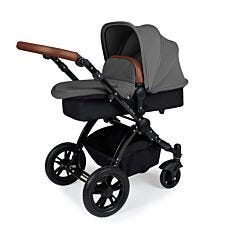 Ickle Bubba Stomp V3 2 in 1 Pushchair - Graphite Grey on Black with Tan Handles
