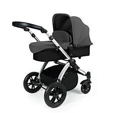 Ickle Bubba Stomp V3 2 in 1 Pushchair - Graphite Grey on Silver with Black Handles