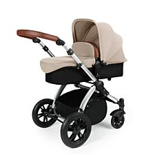 Ickle Bubba Stomp V3 2 in 1 Pushchair - Sand on Silver with Tan Handles