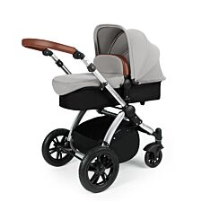 Ickle Bubba Stomp V3 2 in 1 Pushchair - Silver on Silver with Tan Handles