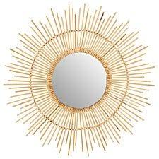 Round Wall Mirror - Natural Rattan