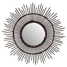 Round Wall Mirror - Natural Rattan/Black