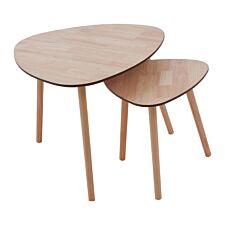 Premier Housewares Set of 2 Side Tables Wood Effect Veneer Pine Wood Legs