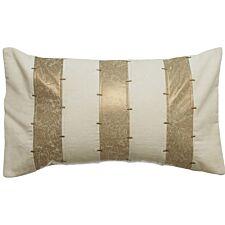 Premier Housewares Kensington Townhouse 3 Striped Wool Cushion - Ivory/Gold