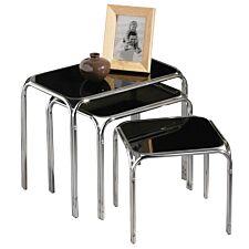Nest of 3 Tables Black Glass Chrome Finish Legs