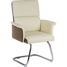 Teknik Elegance Medium Backed Visitor Chair in Supple Cream Leather Look Upholstery with Contrasting Chocolate Cross-Woven Accent Fabric