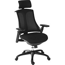 Teknik Rapport Mesh Luxury Curved Executive Chair in Black with Removable Headrest and Height Adjustable Arms