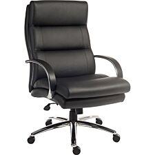 Teknik Samson Heavy-duty Leather Look Executive Chair with Padded Armrests & Sturdy Nylon Base - Black