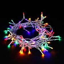 Robert Dyas Mains Operated LED Transparent String Lights - Multi-Coloured