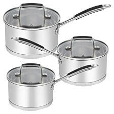Robert Dyas Stainless Steel 3-Piece Saucepan Set
