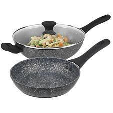 Salter Megastone 2 Piece Wok and Fry Pan Set