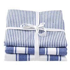 Stow Green Kensington Blue Stripe Tea Towels - Set Of 3