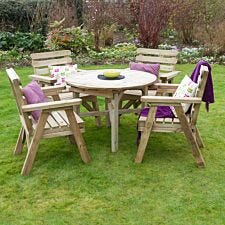 Zest4Leisure Wooden Abbey Round Table and 4 Chair Set