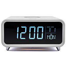 Groov-e Athena Alarm Clock & Wireless Charger - White