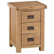 Graceford Ready Assembled Large 3-Drawer Oak Bedside Cabinet