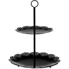 Premier Housewares 2 Tier Cake Stand - Black
