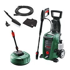 Bosch Universal Aquatak 135 Pressure Washer, AquaSurf 250 Patio Cleaner, and Car Wash Kit