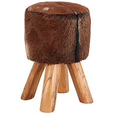 Inca Round Stool Brown Goat Hide Teak Legs