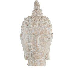 Premier Housewares Wooden Buddha Head - White Wash