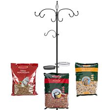Chapelwood Bird Feed Black Dining Station plus Mealworm, Seed and Peanut Feed