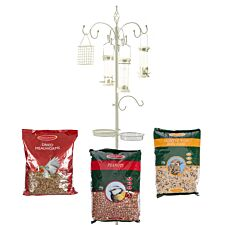 Chapelwood Complete Cream Dining Station plus Mealworm, Seed and Peanut Feed
