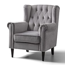Cambridge Accent Chair Velvet Grey Black Legs
